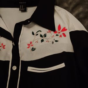 Button down floral embroidered long sleeved top